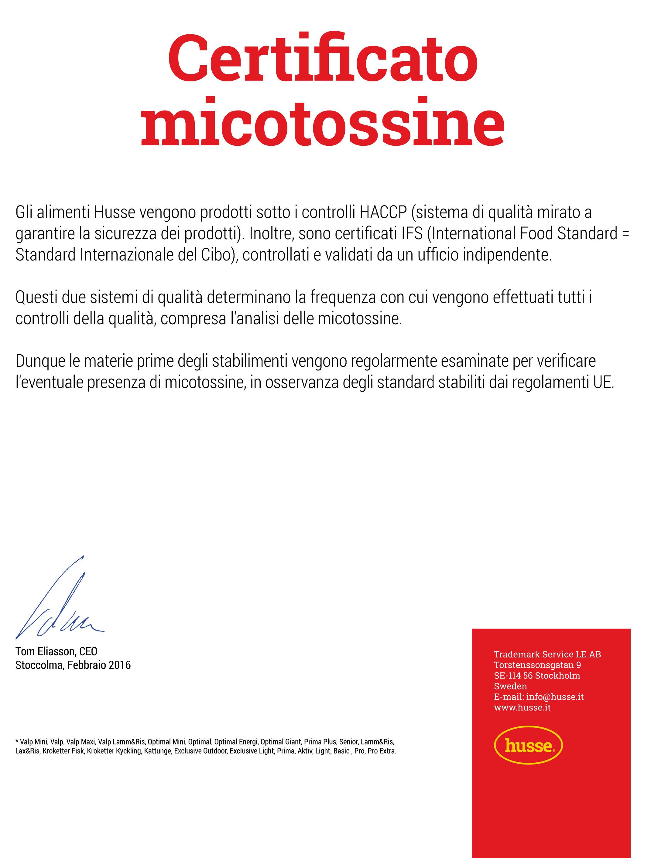CERTIFICATO MICOTOSSINE
